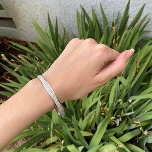 Monet Vintage Silver Shiny Bangle Bracelet Jewelry